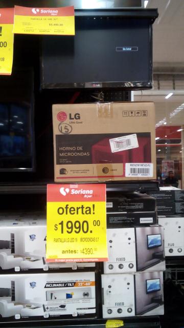 """Soriana: combo de Pantalla LED LG de 19"""" y microondas LG de 0.7 pies a $1,990"""