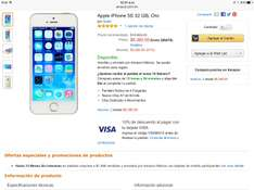 Amazon: iPhone 5s 32 GB a $8,380 ($7,542 pagando con Visa)