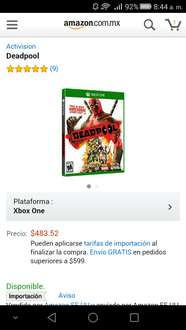 Amazon MX: Deadpool Super precio (mas descuento visa) Xbox One o PS4  a $483.52
