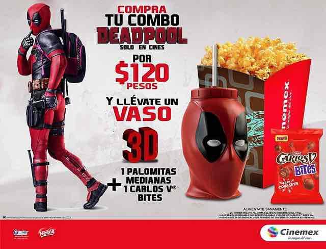Cinemex: Deadpool Combo: Palomitas, Vaso y Chocolatines