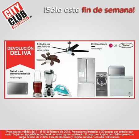 City Club: devolución del IVA en Electrodomésticos, Linea Blanca y Ventiladores