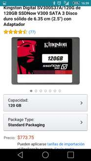 "Amazon MX: SSD 120gb Kingston SV300S37A/120G 2.5"" a $763"