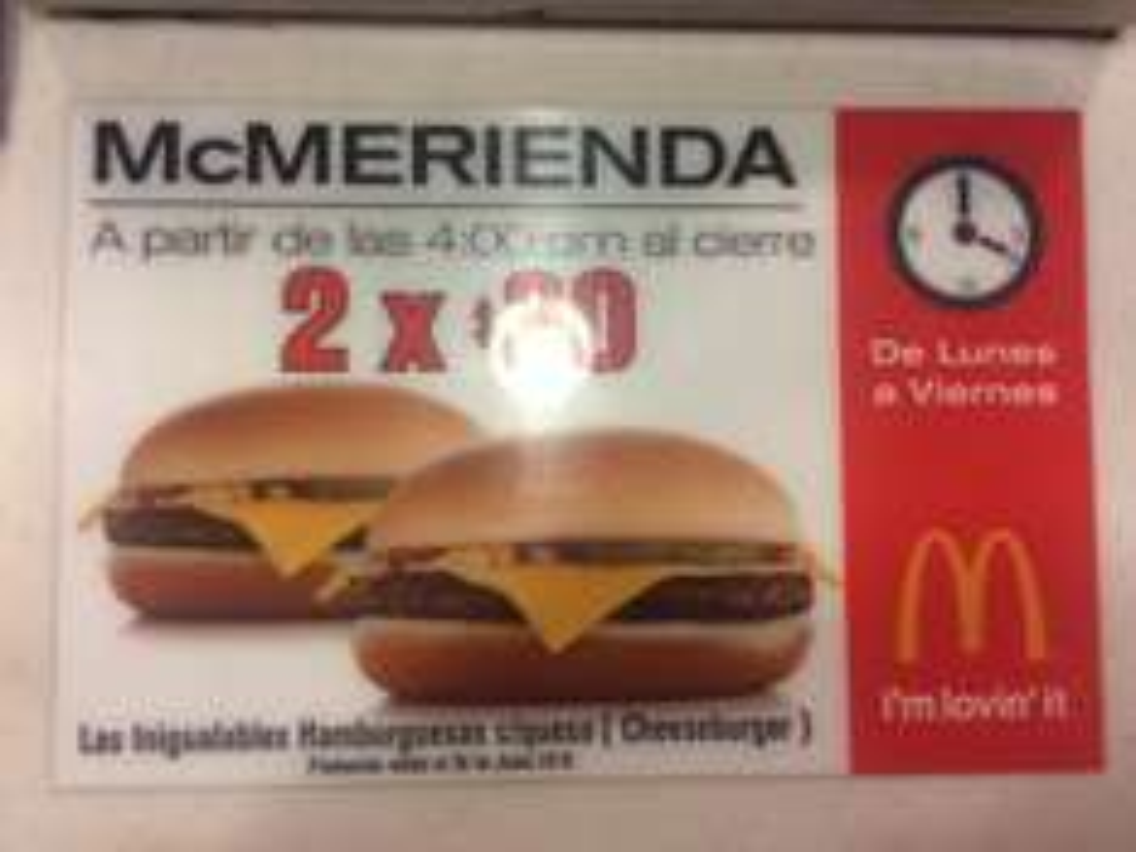 McDonald's: 2 Cheeseburger por $30 de lunes a viernes a partir de las 4PM