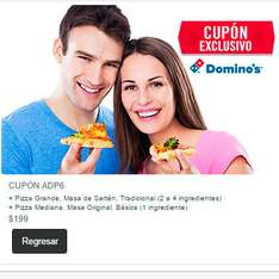 Domino's Pizza: Cupón para Pizza grande de sartén y pizza mediana por $199