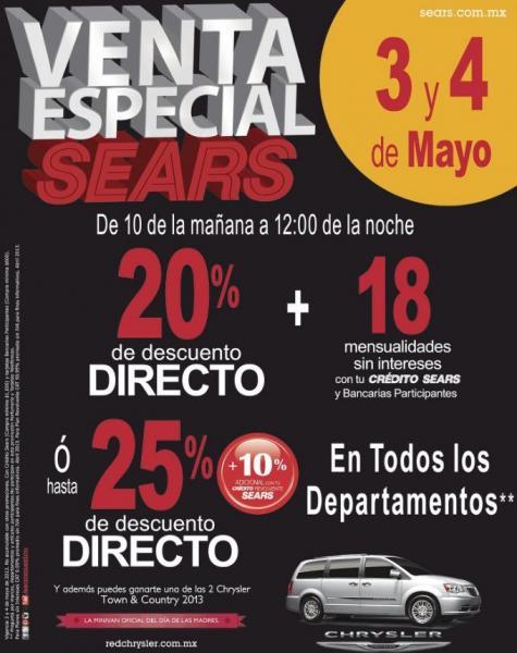 Venta Especial Sears 3 y 4 de mayo