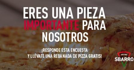 Sbarro: rebanada de pizza gratis por contestar encuesta