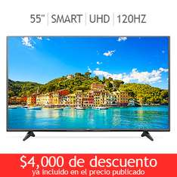 "Costco: LED 55"" Smart TV LG modelo 55UF6450 Ultra HD 120Hz a $13,499 Envío incluido"