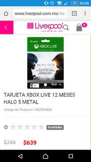 Liverpool: Xbox Live Gold 12 Meses HALO 5 a $679
