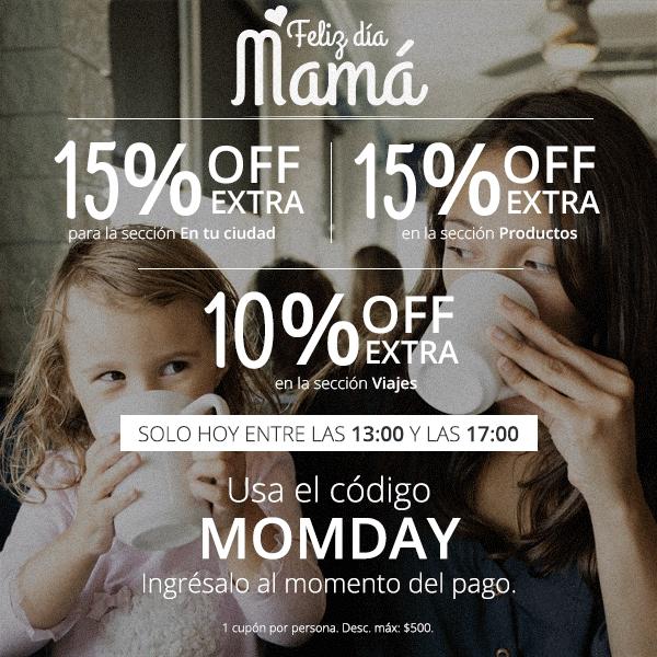 Groupon: 15% de descuento extra en tu ciudad para el día de las madres