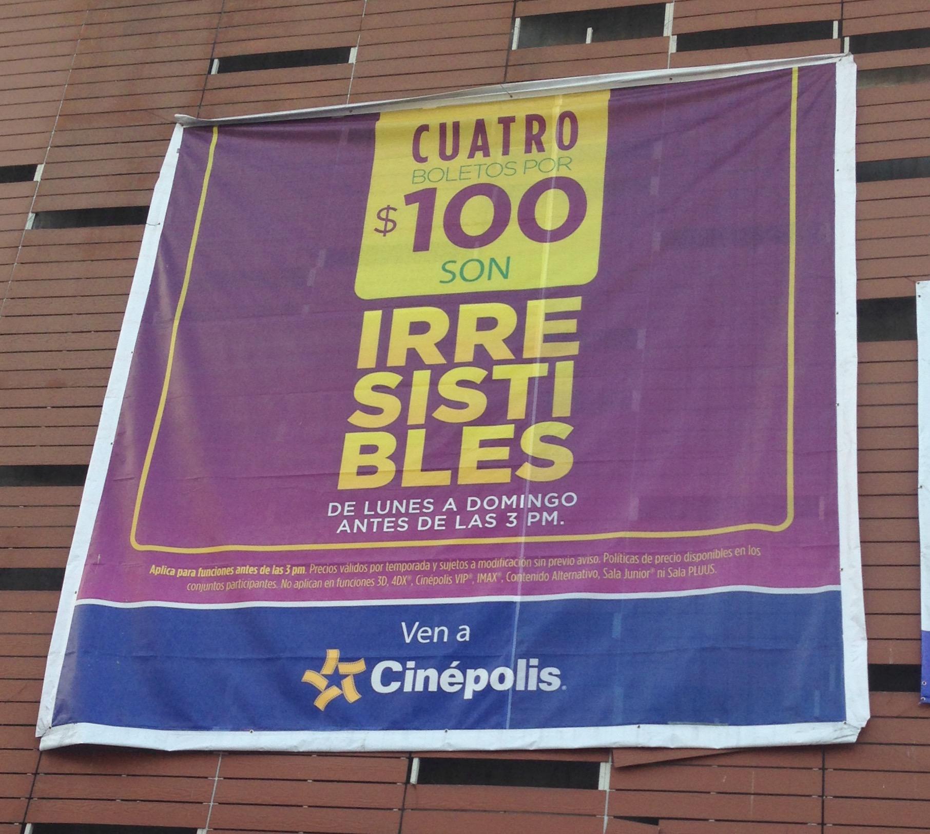 Cinépolis: 4 Boletos x $100