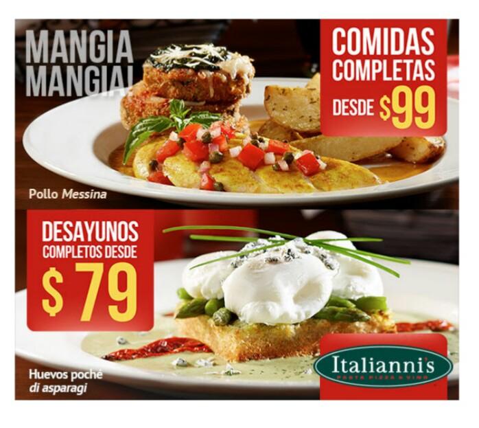 Italiannis: comida completas desde $99