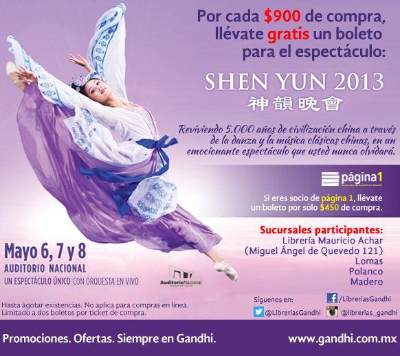 Librerías Gandhi: boleto gratis para Shen Yu con $450 o $900 de compra (cuesta $770)