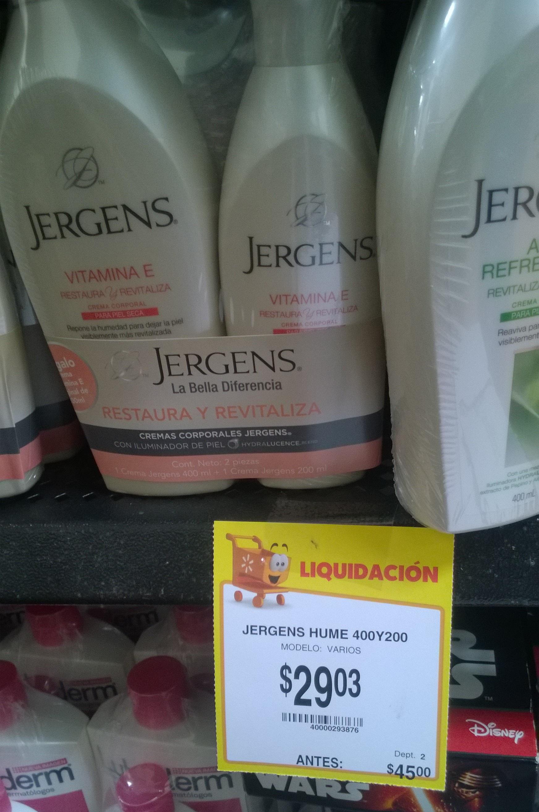 Walmart: liquidación de cremas Jergens, Lubriderm y Nivea desde $29.