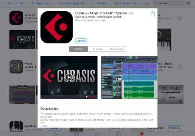 Appstore: Cubasis para iPad a $430 (50% de descuento)