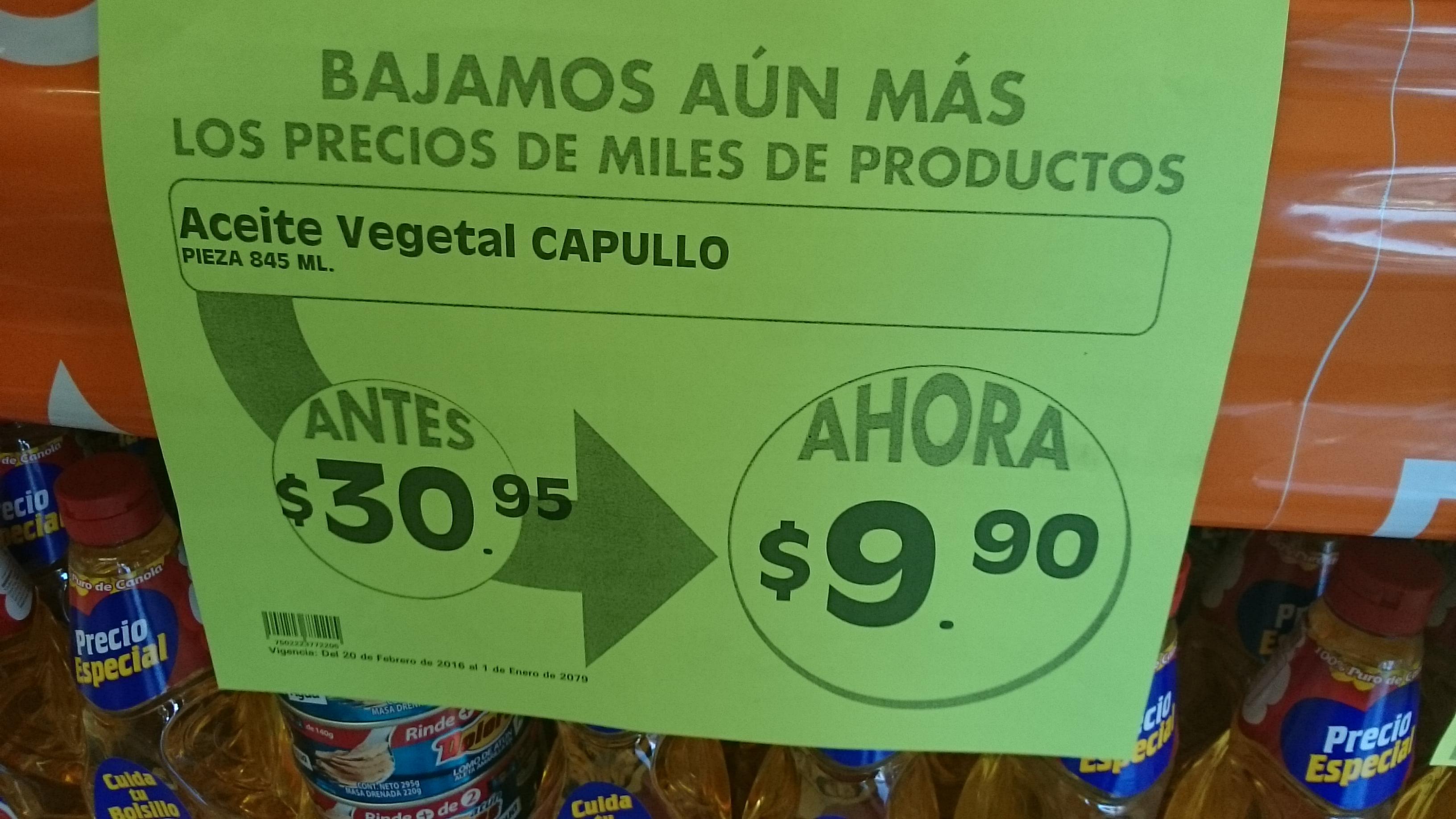 Comercial Mexicana: Aceite Capullo de $30.95 a $9.90
