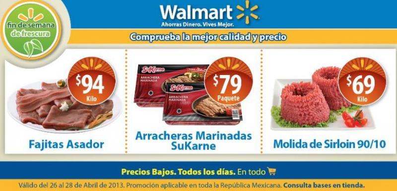 Ofertas de carnes en Walmart y Chedraui abril 26 a 28
