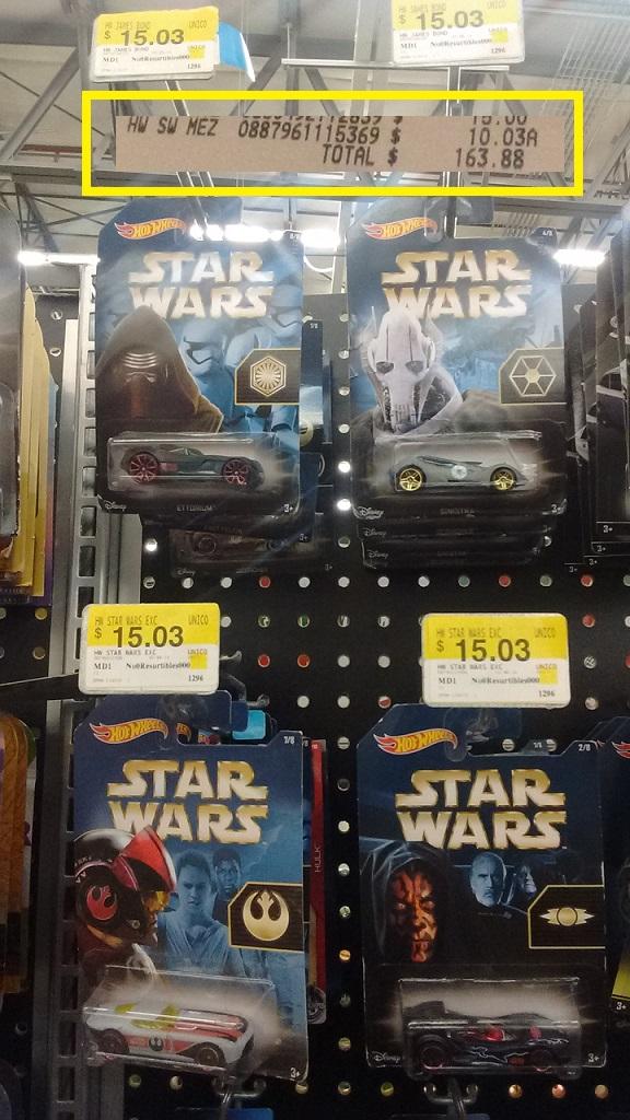 Bodega Aurrerá: Hot Wheels - Star Wars $10.03
