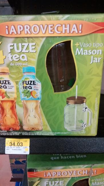 Walmart: Paquete de 4 Fuze Tea + Tarro tipo Mason Jar a $34.03