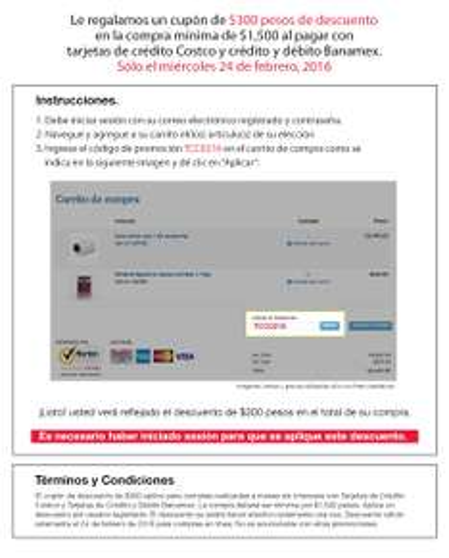 Costco Tienda Online: Regresa el cupón de $300 en compras minimas de $1,500
