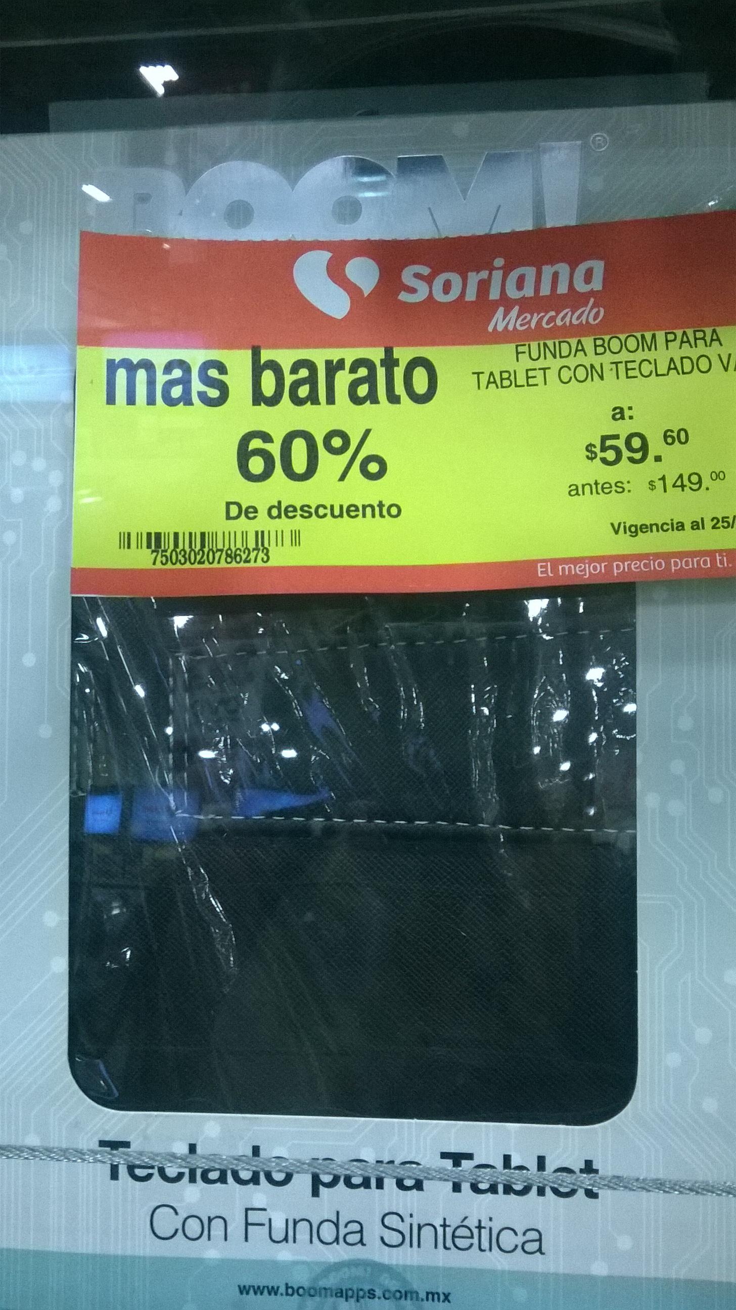 Soriana Mercado: funda con teclado para tablet a $59.60
