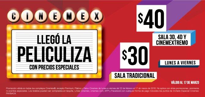 Cinemex Peliculiza: sala tradicional a $30; 3D, 4D y Extremo a $40