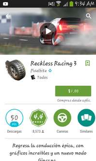 Google Play: Reckless Racing 3 a $1
