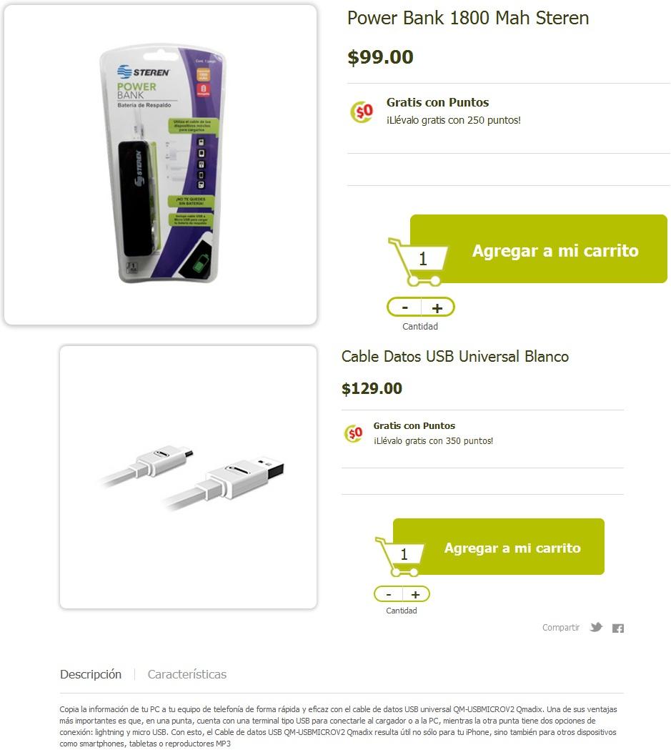 Soriana en línea: Power Bank Steren/Cable Datos USB Universal Blanco Gratis con Puntos