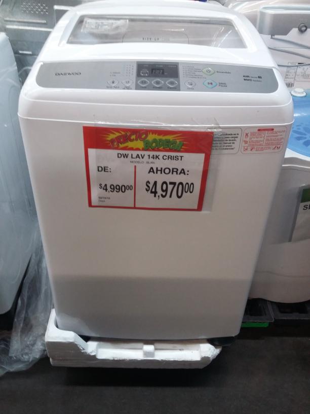 Bodega Aurrerá: Lavadora Daewoo de 14kg a $4,970