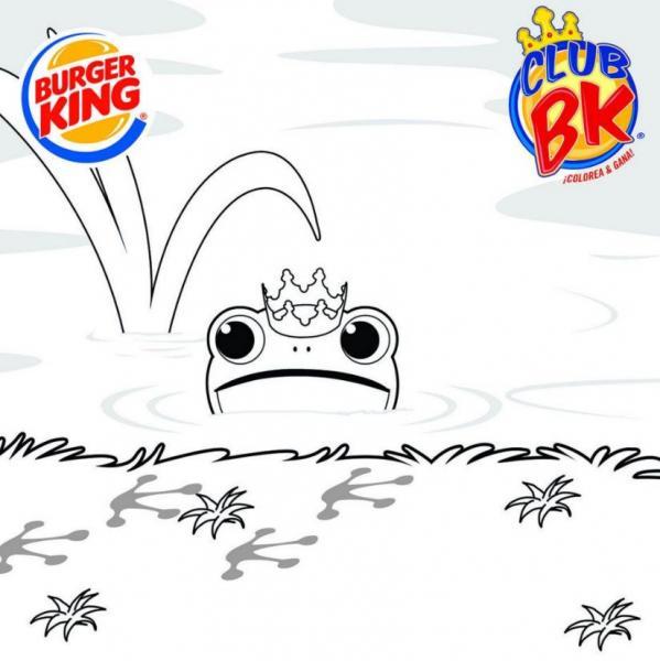 Burger King: comida de niños gratis llevando dibujo coloreado