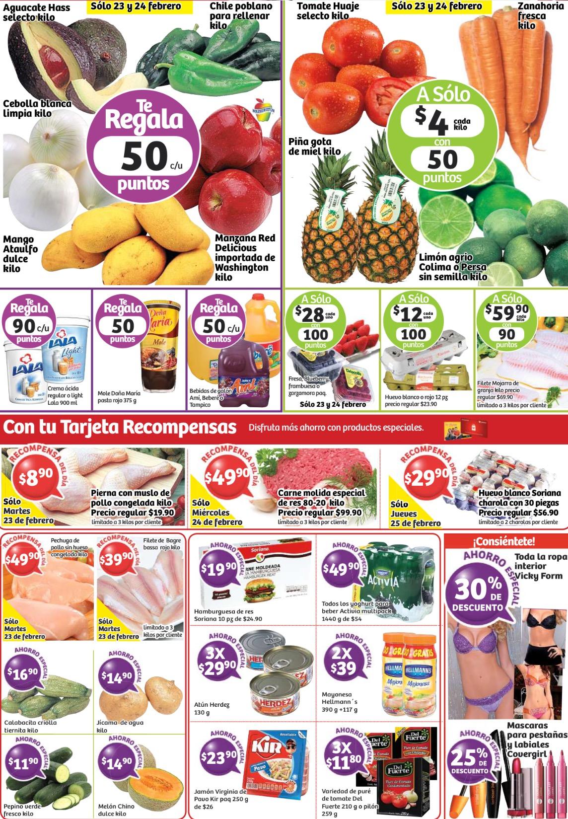 Ofertas del 23 al 25 de febrero en Soriana (carnes, frutas, verduras y más)