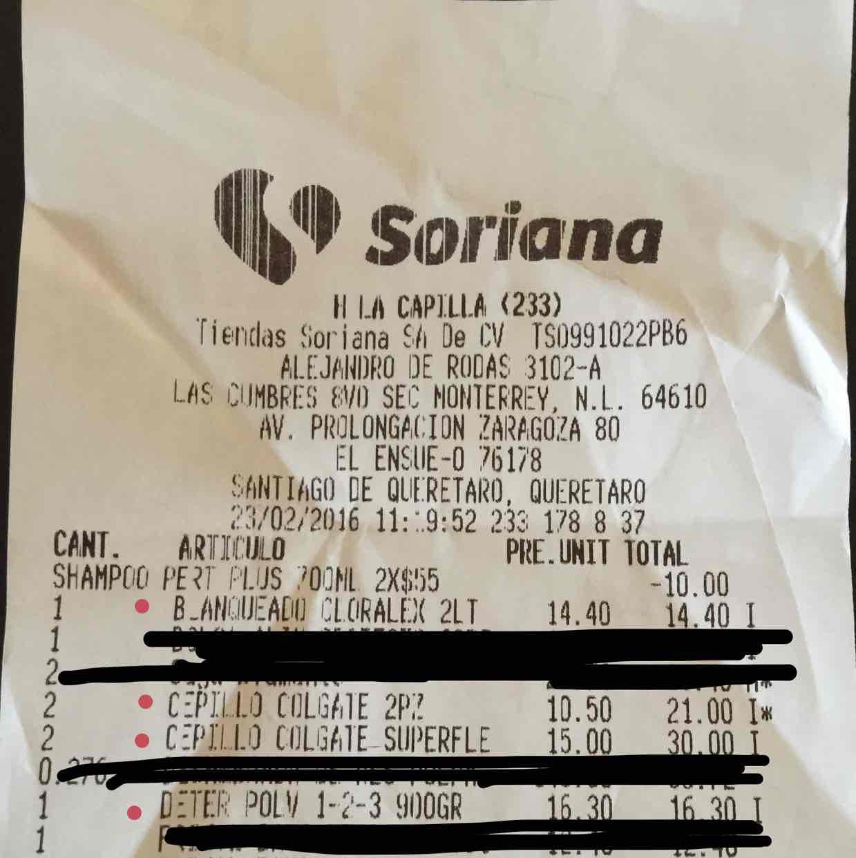 Soriana: cepillos de dientes colgate en paquete de 3 cepillos a $15, de 2 a $10.50, frijoles bayos a $5.5
