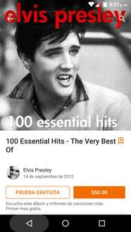 Google Play; 100 hits de Elvis Presley