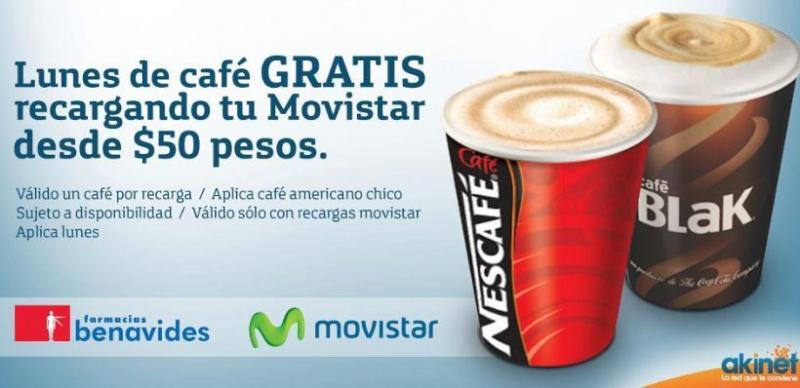 Café gratis recargando $50 de Movistar en Farmacias Benavides los lunes