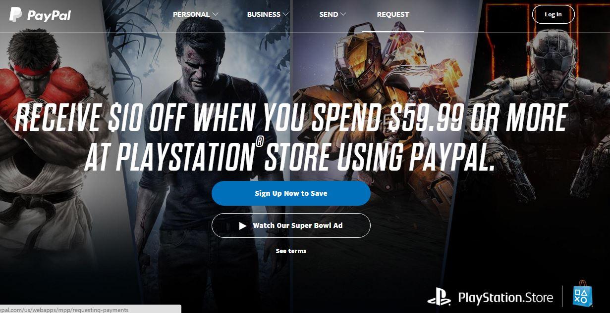 PayPal: 10 Dolares descuento en compras de PlayStation Store de $59.99usd o más