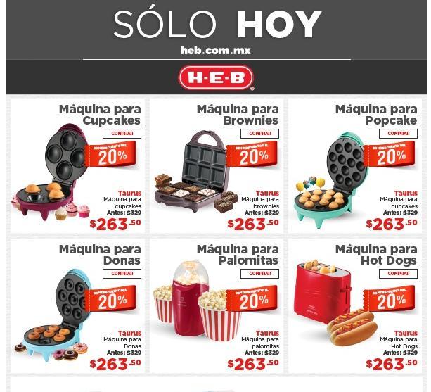HEB online Solo hoy - Descuento del 20 % en maquinas Taurus y linea Effaclar