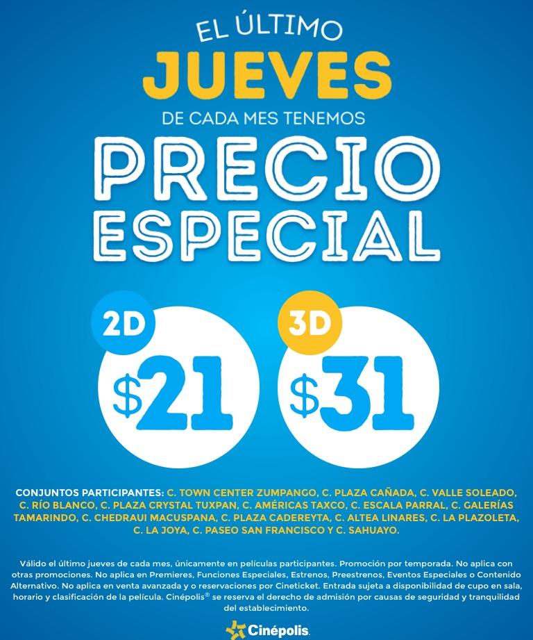 Cinépolis: Último Jueves de cada Mes Precio Especial 2D $21 3D $31 en Conjuntos participantes