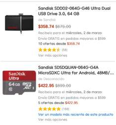 Amazon: Sandisk USB Drive 3.0 con OTG y Micro SD 64GB