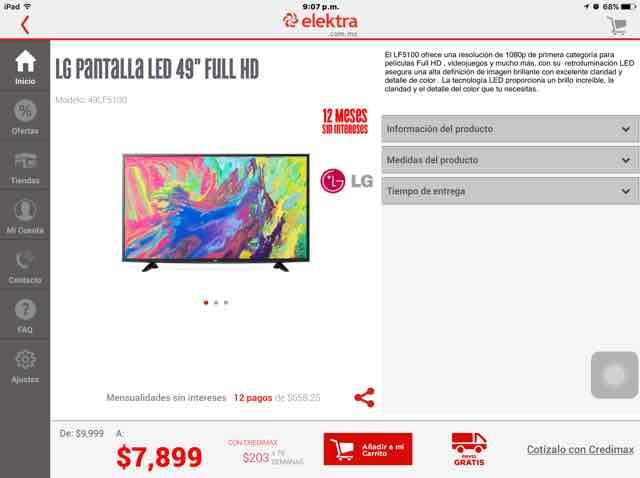 "Elektra online: LG pantalla 49"" Full Hd a $7,109 con cupón"