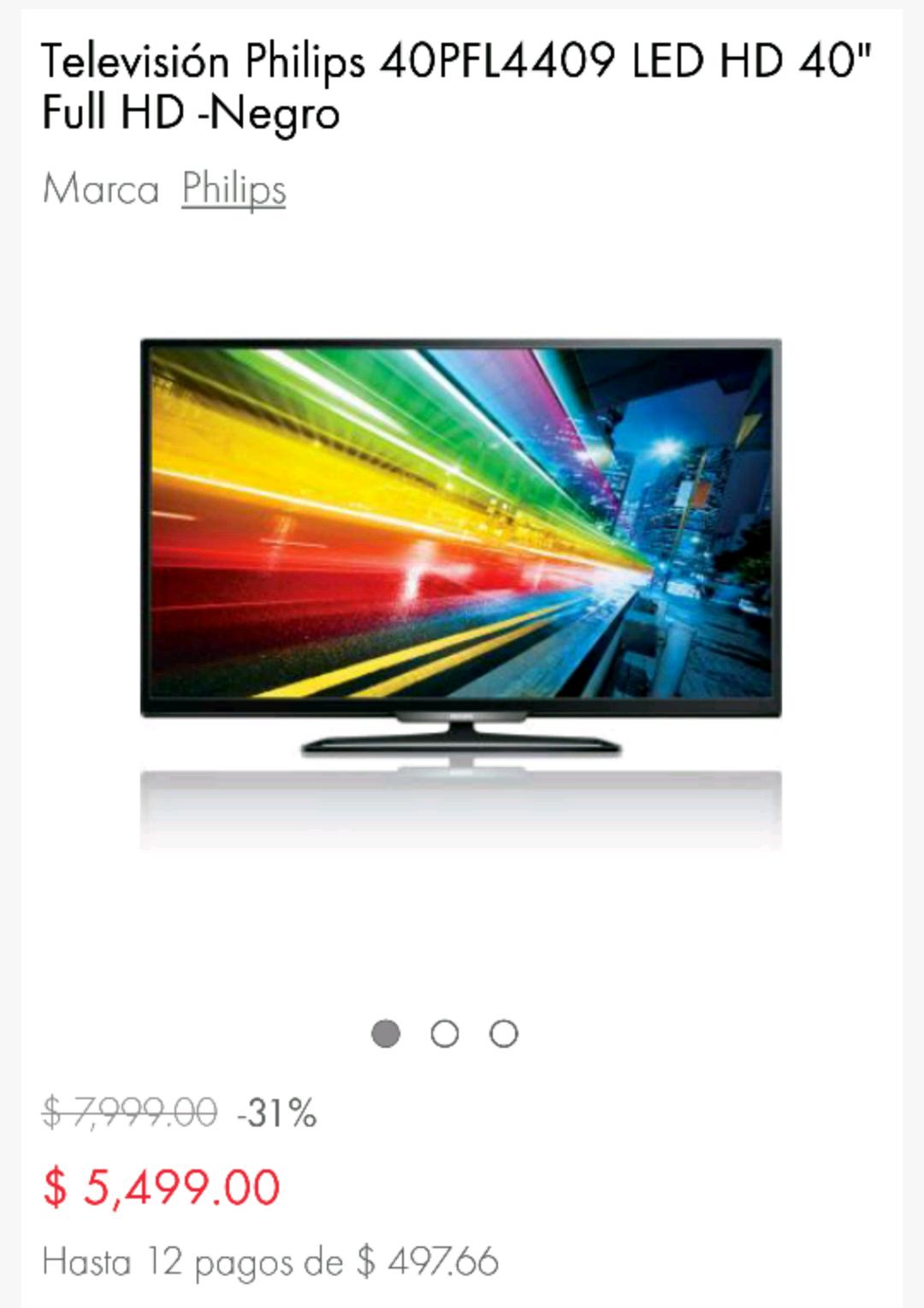 "Linio: Pantalla Philips 40"" LED FULL HD a $4,950 pagando con Paypal"