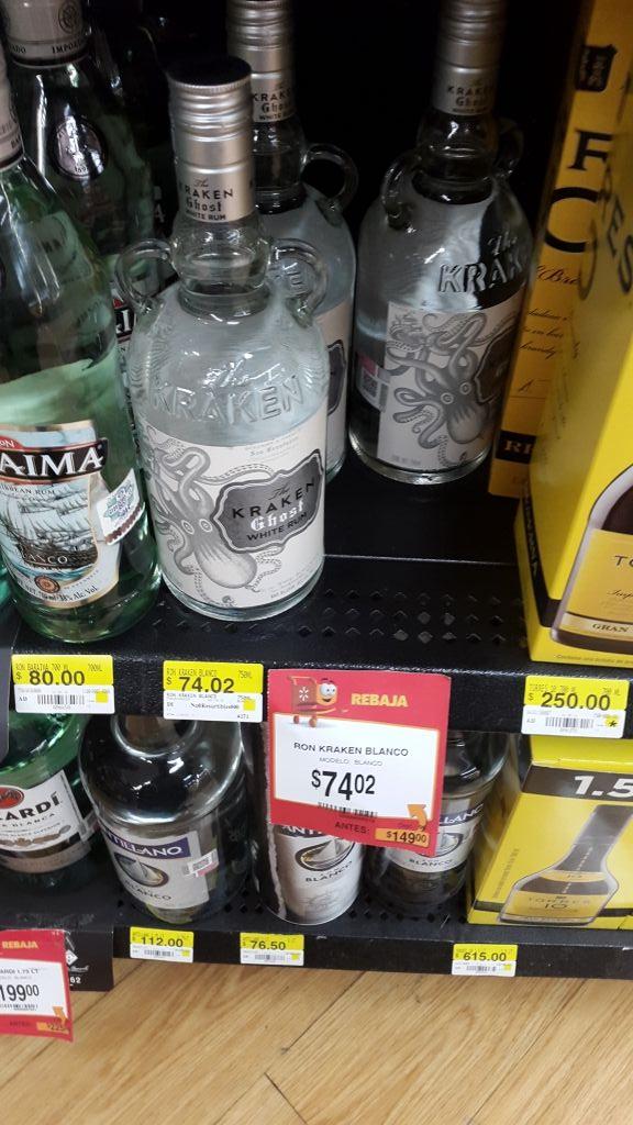Walmart Interlomas: Ron Kraken blanco de $149 a $74.02