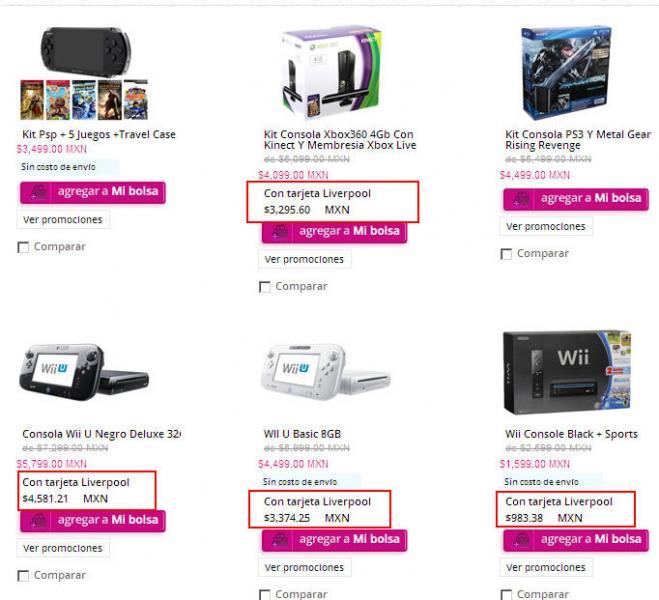 Wii $983, 3DS XL $2,340, Xbox 360 con juego $2,249 y más con tarjeta Liverpool