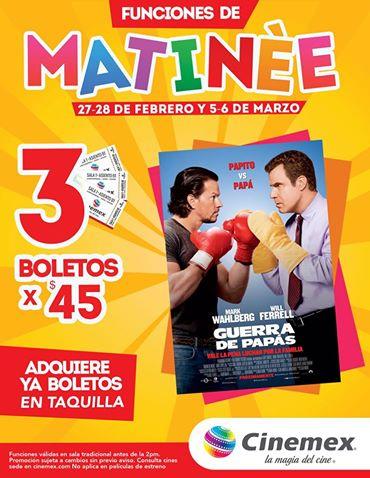 Cinemex: 3 entradas para Matineé de Guerra de Papas por $45
