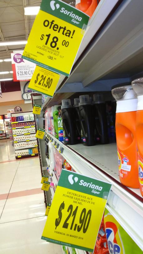 Soriana: detergente líquido Ace de 1L a $18