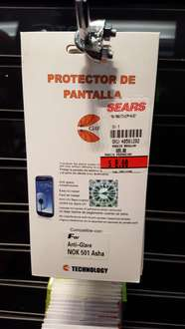 Sears: mica protectora para celular varios a $8