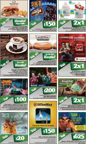 Cupones para Cinemex 4XD, Krispy Kreme, La Feria, Granja Las Américas, Quiznos y más
