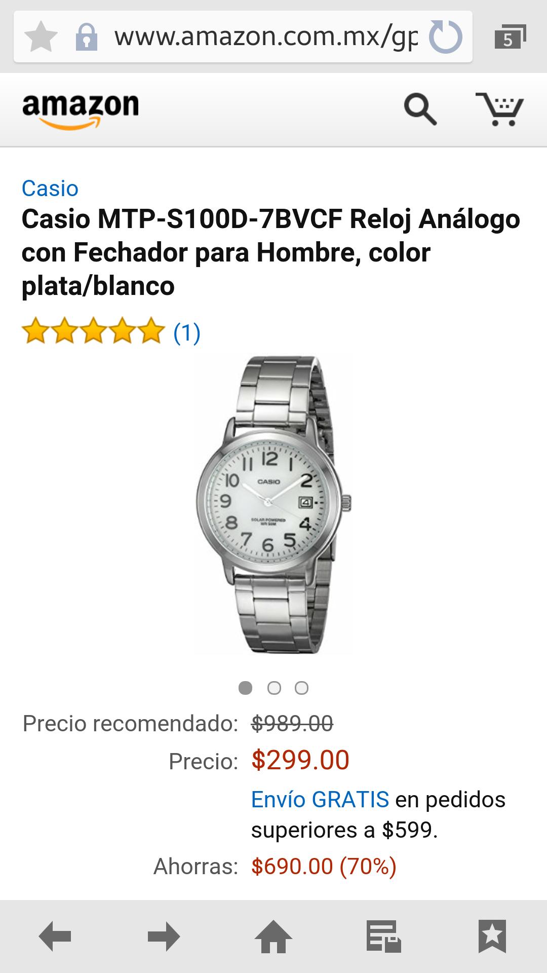 Amazon: Reloj Análogo Casio modelo MTP-S100D-7BVCF Acero Inoxidable a $299