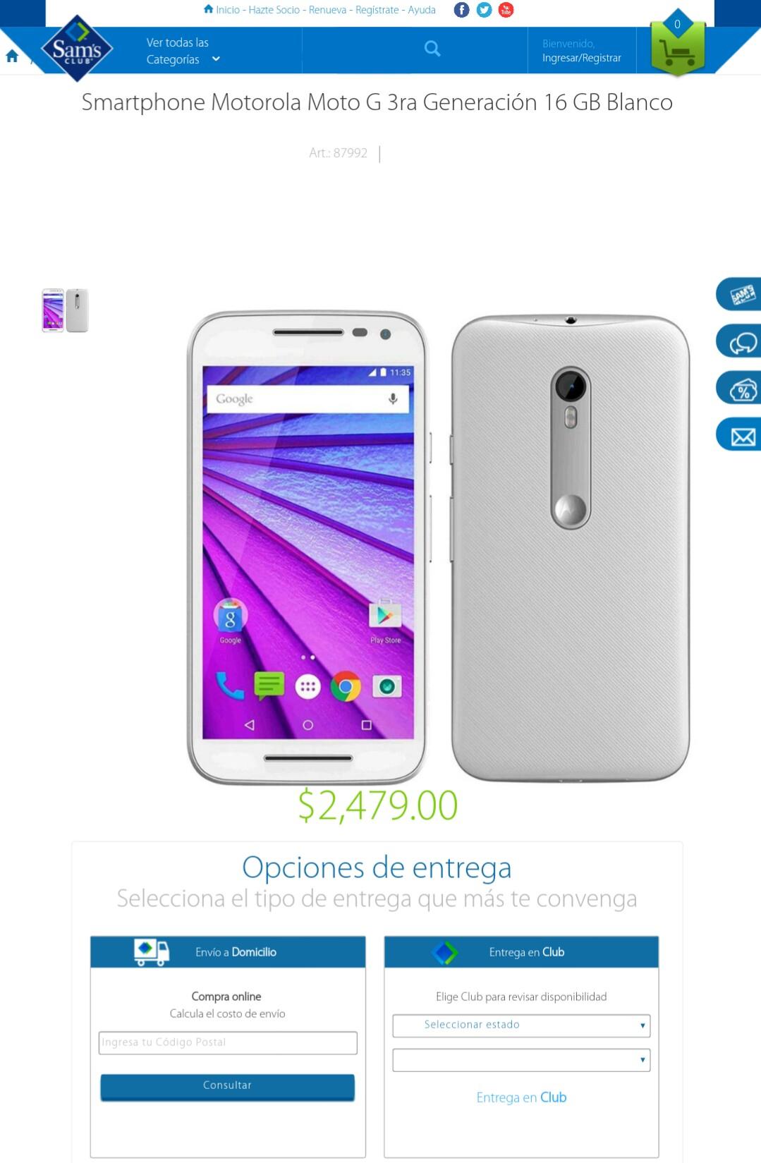 Sam's Club en línea: Motorola Moto G 3a Generación 16 GB Blanco desbloqueado a $2,479
