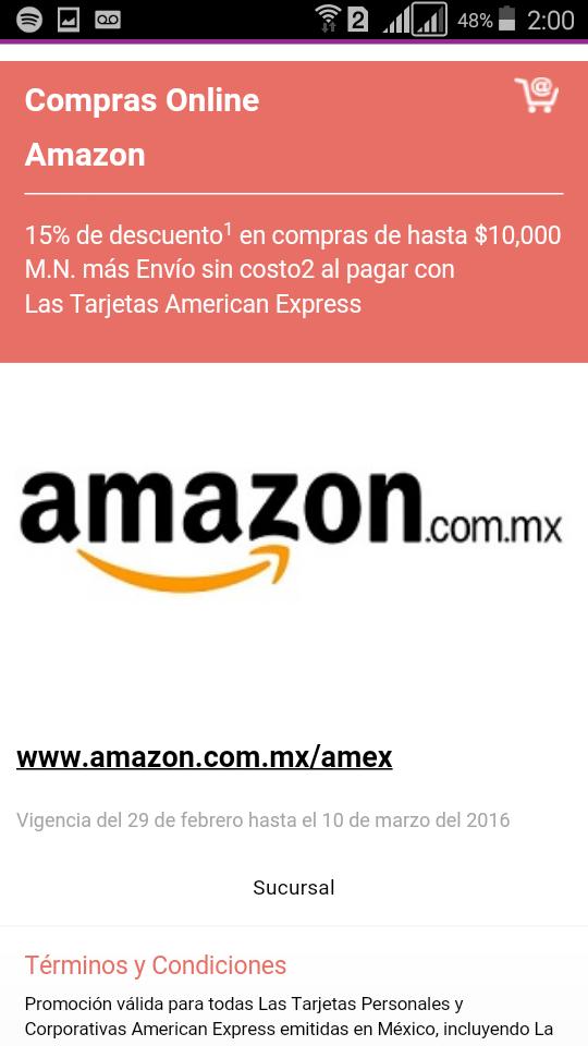 Amazon: cupón 15% de descuento pagando con Américan Express