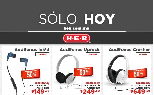 HEB en linea: 50% de descuento en audifonos Skullcandy
