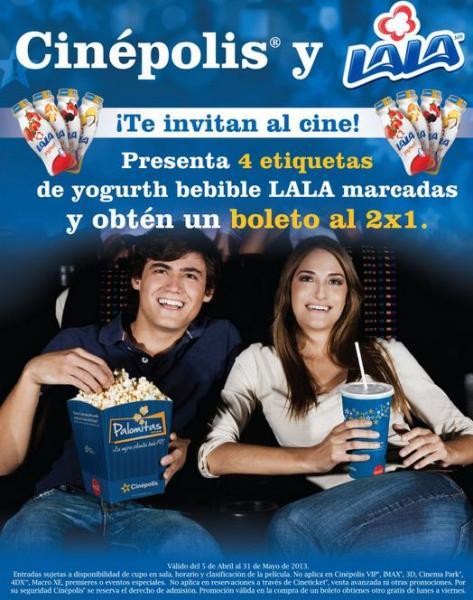 Cinépolis: 2x1 con etiquetas de yoghurt LALA